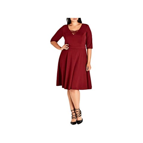 City Chic Womens Plus Skater Dress Elbow Sleeves Knee-Length