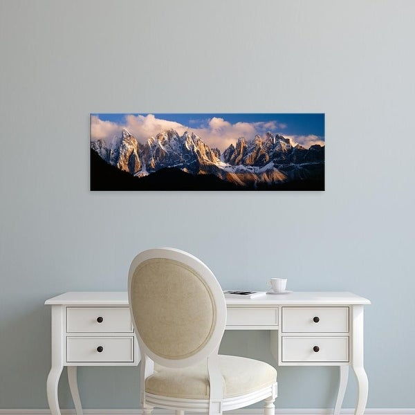 Easy Art Prints Panoramic Images's 'Snowcapped mountain peaks, Dolomites, Italy' Premium Canvas Art