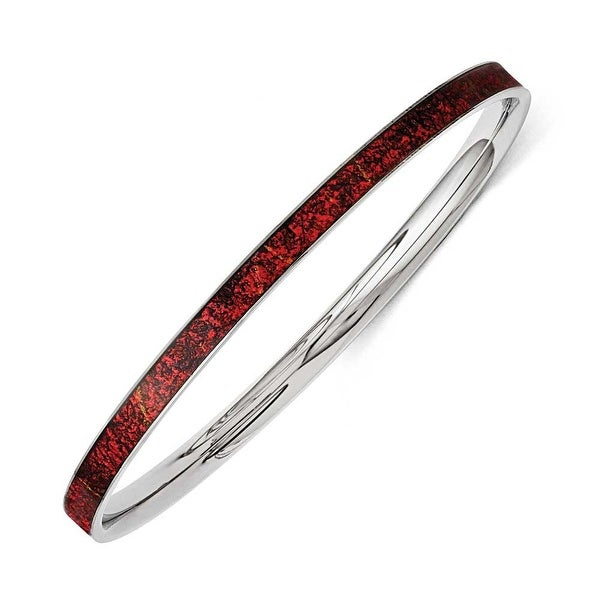 Chisel Stainless Steel Red and Black Enameled Bangle