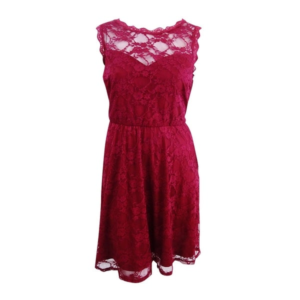 Love Squared Women's Trendy Plus Size Lace Fit & Flare Dress (2X, Burgundy) - Burgundy - 2X