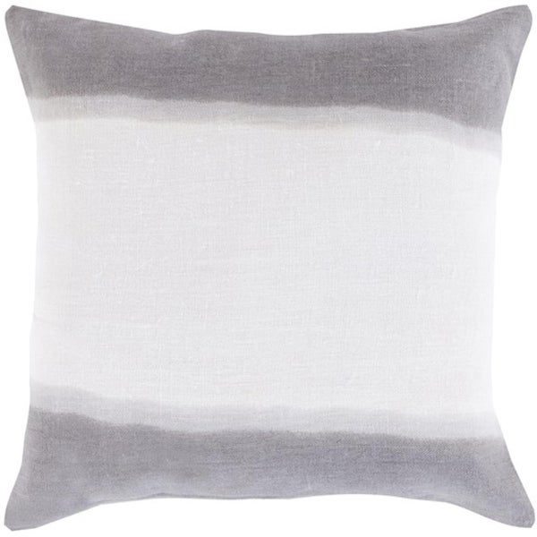 "22"" Gray and White Double Dip Decorative Throw Pillow - Down Filler"