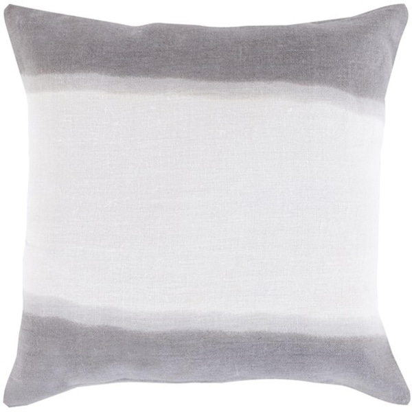 """22"""" Gray and White Double Dip Decorative Throw Pillow"""