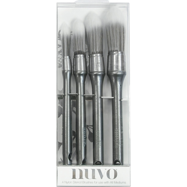 Nuvo Stencil Brushes 4/Pkg-