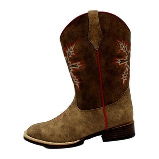 Double Barrel Western Boots Boys Pull Tabs Clay Medium Brown
