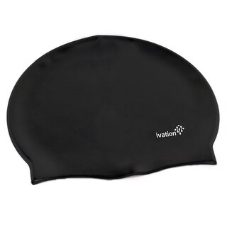 Ivation Silicone Solid Swimming Cap - Perfect for Competitive Swimming & Other Watersports (Black)