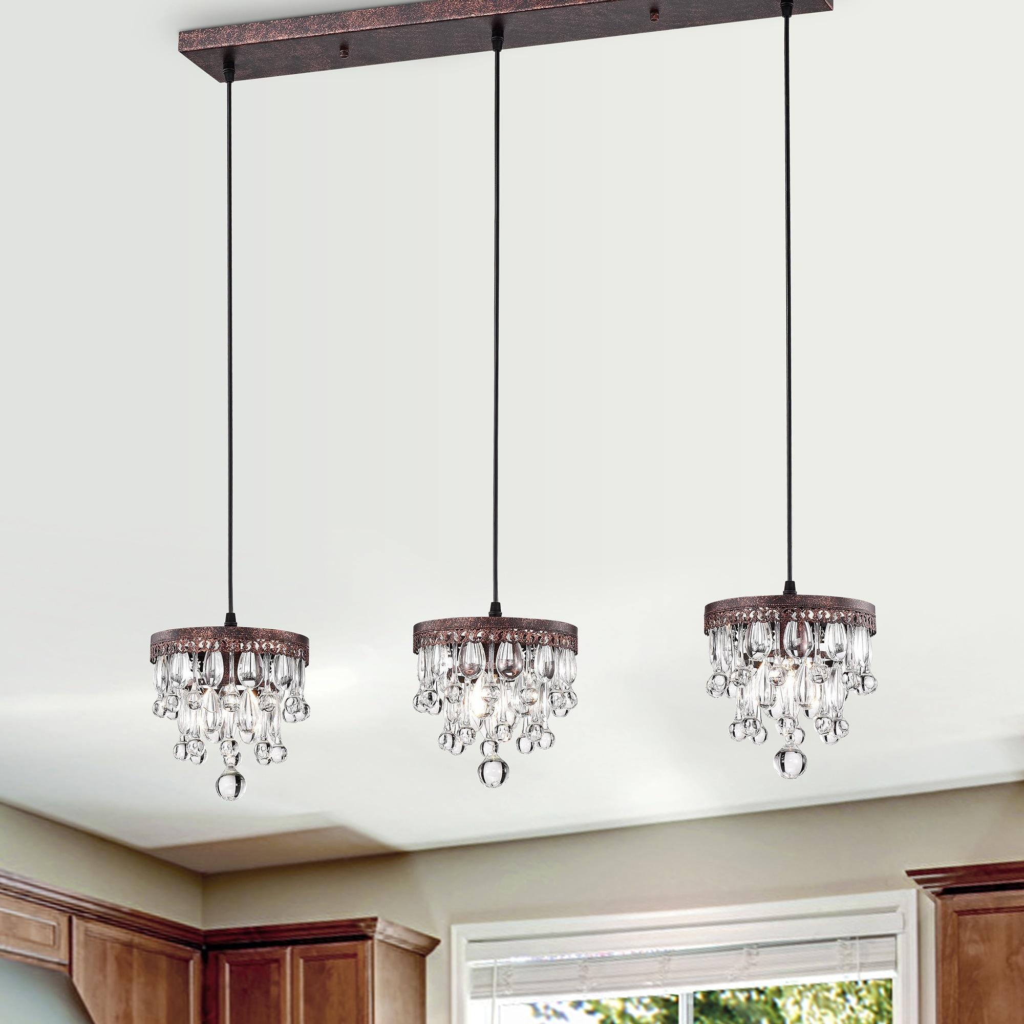 Shop Black Friday Deals On Jerri Antique Copper 3 Light 5 Tier Hanging Crystals Kitchen Island Pendant Light Overstock 31828138