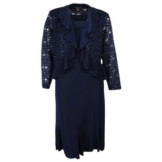 R&M Richards Women's 2PC Lace Jersey Dress Jacket Set (Option: 16w)