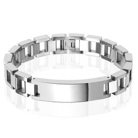 13mm Classic Chain with ID Plate Stainless Steel Bracelet (13 mm) - 9 in
