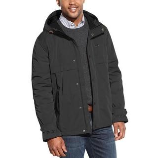Tommy Hilfiger TH Black Hooded Anorak Jacket Medium M Waterproof Wind Stopper