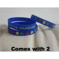 2 Autism Awareness Silicone adult size Blue Bracelet