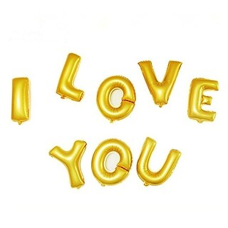 Foil I LOVE YOU Balloon Wedding Party Celebration Decor Gold Tone 8 in 1