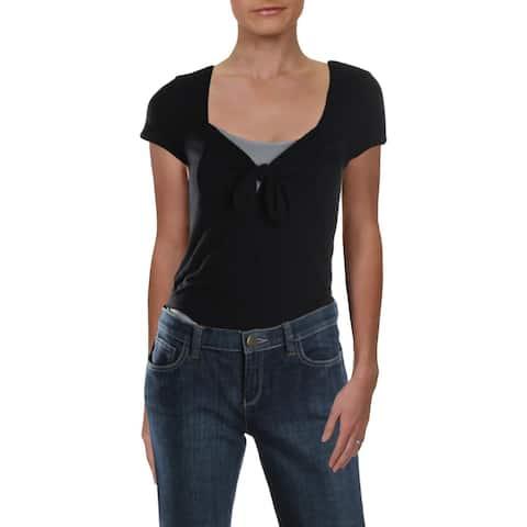 Aqua Womens Bodysuit Ribbed Tie Front - Black