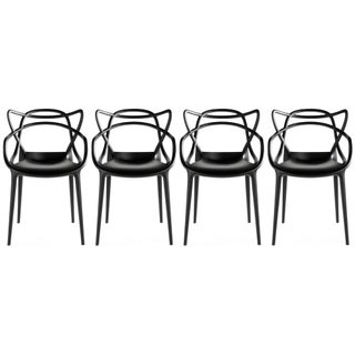 2xhome - Set of Four (4) Modern Contemporary Stackable Design Master Chair Dining Arm Chairs (5 options available)