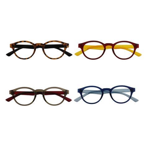 Unisex Round Framed Reading Glasses 4 Piece Pack