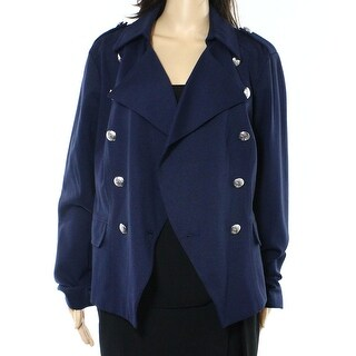 INC NEW Blue Navy Buttoned Women's Size Large L Military Jacket