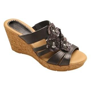 Spring Step Women's Floral Leather Sandal - Flower Accent Wedge Heel Slides