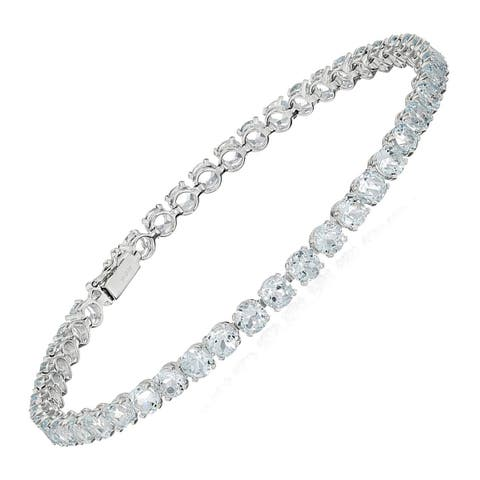 "Aquamarine Tennis Bracelet in 14K White Gold, 8"" - Blue"