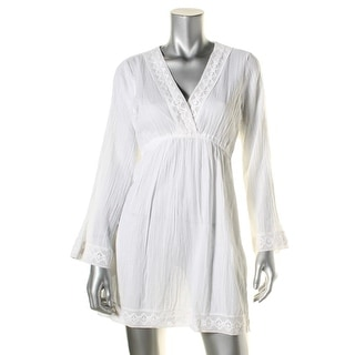 Lauren Ralph Lauren Womens Chelsea Cotton Crochet Trim Dress Swim Cover-Up