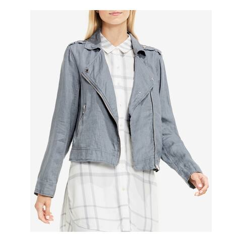VINCE CAMUTO Womens Blue Collared Jacket Size 2XS