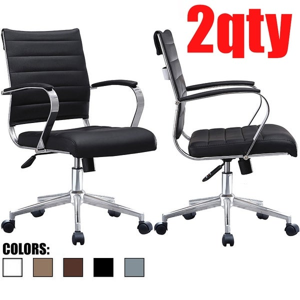 Set of 2 Modern Mid Back Ribbed PU Leather Swivel Tilt Adjustable Seat Task Conference Room Office Chair with Arms. Opens flyout.