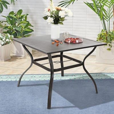 """Phi Villa 37"""" Metal Steel Slat Patio Dining Table , 1.57"""" Umbrella Hole, Black"""