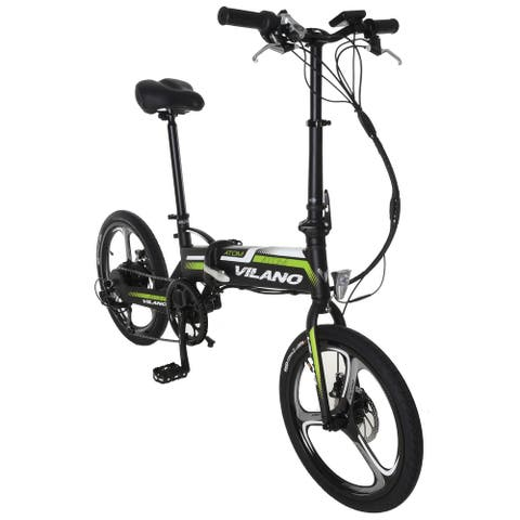 Vilano ATOM Electric Folding Bike, 20-Inch Mag Wheels - Grey