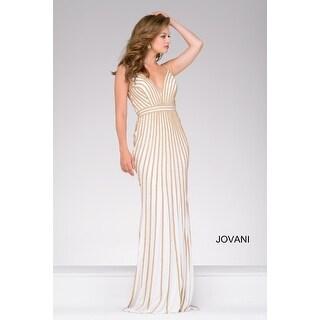 Sleeveless Rhinestone Jersey Gown