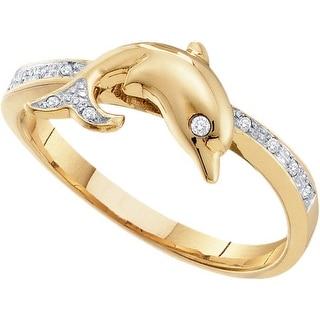10k Yellow Gold Round Natural Diamond Dolphin Womens Animal Band Ring 1/20 Cttw - White