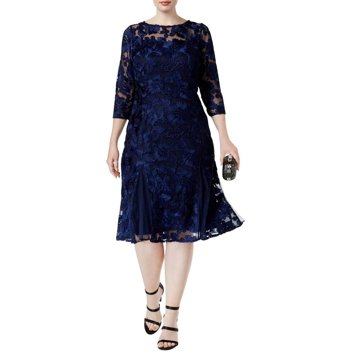68f09c238f17a7 Shop Alex Evenings Womens Plus Special Occasion Dress Embroidered  Knee-Length - Free Shipping Today - Overstock - 23403983 - 24W