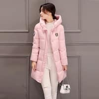 New section long sleeve Korean slim long down jacket female student cotton coat