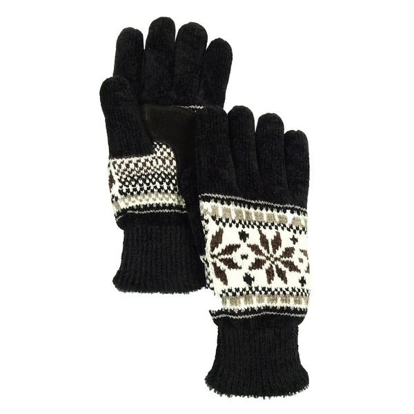 861586545 Isotoner Women's Signature Casual Knit Chenille Gloves - Black - os