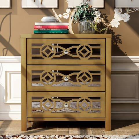 Wooden Storage Cabinet with 3 Drawers and Decorative Mirror