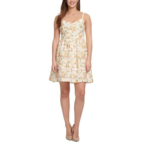 Kensie Womens Casual Dress Floral Print Fit & Flare - Ivory/Yellow