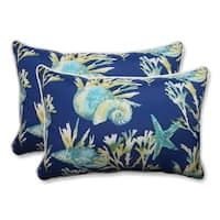 """Set of 2 Blue and Green Tropical Island Outdoor Corded Throw Pillows 24.5"""""""