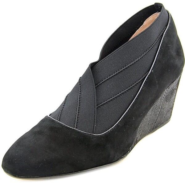 Taryn Rose Kikoriki Women Open Toe Suede Black Wedge Heel