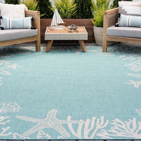 Alise Rugs Exo Novelty Coastal Indoor Outdoor Area Rug