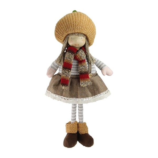 "15"" Standing Autumn Girl Gnome with Scarf and Pumpkin Hat Thanksgiving Figure"