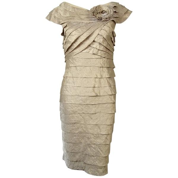 London Times Women's Rosette Cap Sleeves Tiered Sheath Dress - Sand Dollar