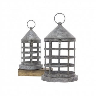 """Link to Set of 2 Gray Cage Lanterns in Galvanized Finished - 31.75"""" Similar Items in Decorative Accessories"""