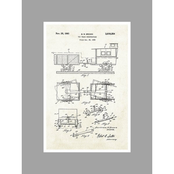 Toy Train - Aged Paper - Toy Patents - 24x16 Matte Poster Print Wall Art
