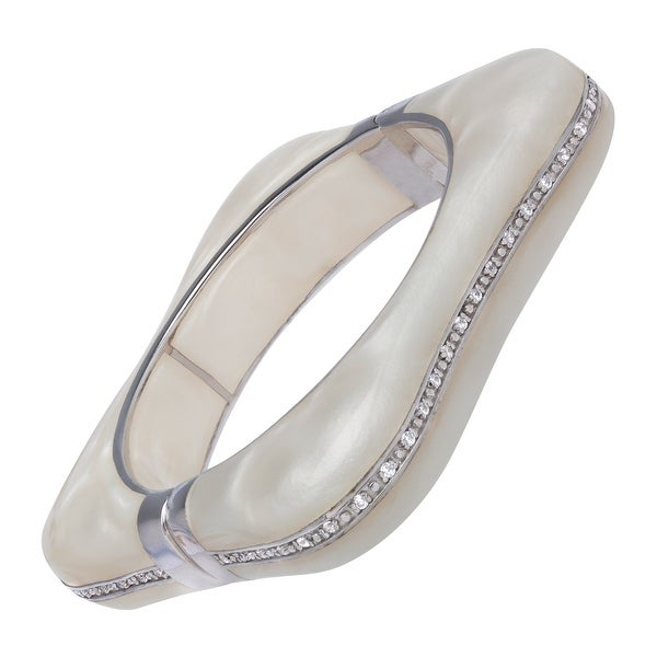Cristina Sabatini Byzantine Bangle Bracelet with Cubic Zirconia in Sterling Silver