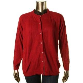 Karen Scott Womens Plus Button-Down Crew Neck Cardigan Sweater