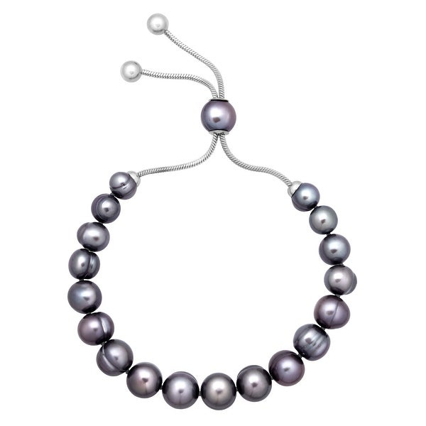 Honora 7-10 mm Freshwater Black Pearl Bolo Bracelet with Slider in Stainless Steel