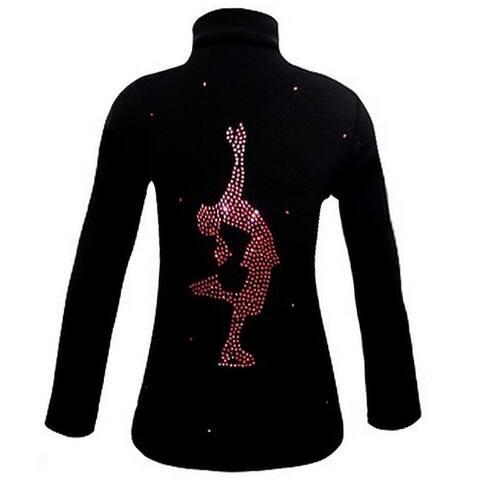 Ice Fire Skate Wear Black Jacket Pink Crystal Layback Girl 4-Women L