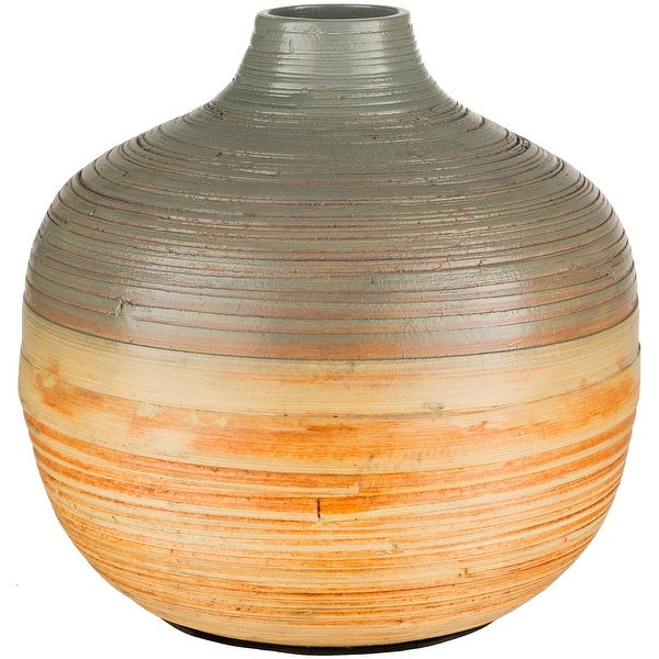"""11.75"""" Orange and Gray Decorative Spherical Shaped Bamboo Vase - N/A"""