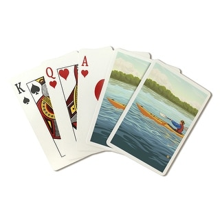 Kayak (Female Version) - Lantern Press Artwork (Playing Card Deck - 52 Card Poker Size with Jokers)