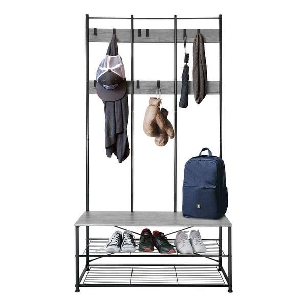 Zenvida Hall Tree Entryway Bench Shoe Storage Coat Rack Shelves Metal Frame - 40 Inches. Opens flyout.