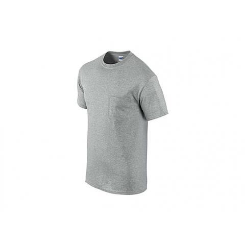 Gildan G205340SG-XL Men's Short Sleeve Pocket Tee Shirt, XL, Sport Gray, 2-Pk