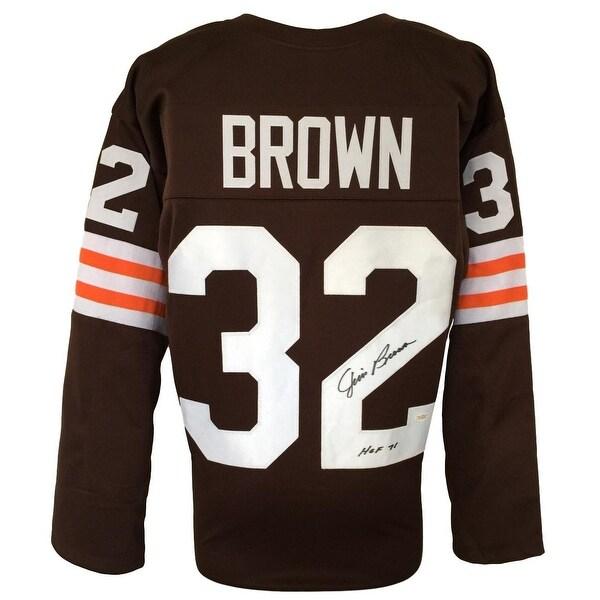 e629091245a Jim Brown Signed Custom Brown Pro-Style Longsleeve Football Jersey HOF 71  JSA
