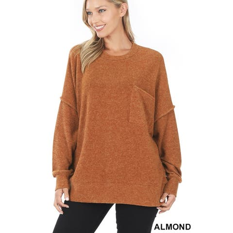 JED Women's Drop Shoulder Oversized Crewneck Tunic Sweater